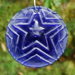 Recycled Cobalt Blue bottle glass &#039;Star&#039; suncatcher.