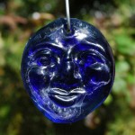 Recycled cobalt blue bottle glass &#039;Moon&#039; suncatcher.