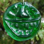 Lime green recycled bottle glass 'Bubba' suncatcher