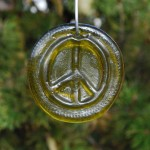 Yellow recycled bottle glass Peace suncatcher