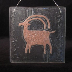 Petroglyph Sheep in Recycled Glass with Red Sand