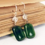 Recycled Bottle Glass Earrings with Crystal Beads