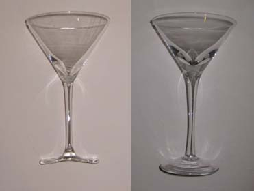 Two martini glasses before firing