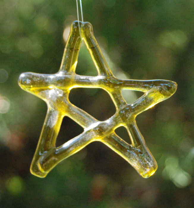 Fused yellow bottle glass star